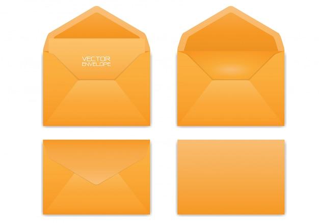 Realistischer orange umschlag eingestellt auf weißen hintergrund.
