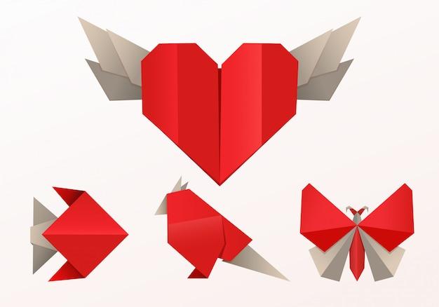 Realistischer origami-stil, fischschmetterling und herz