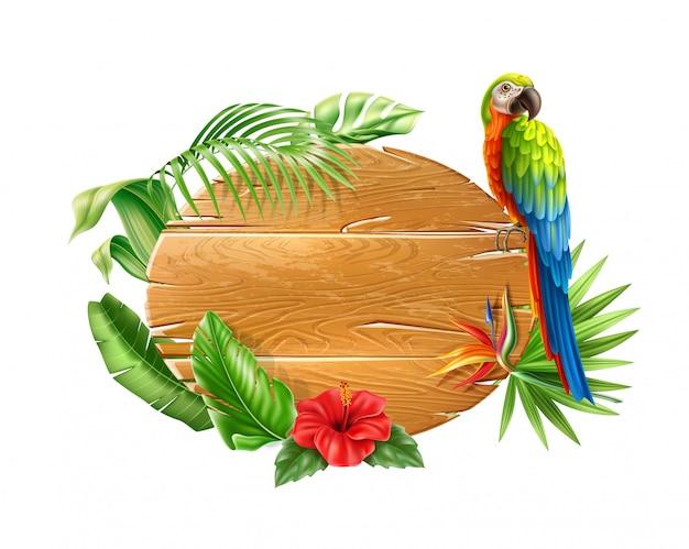 Realistischer papagei, der am hölzernen zeichen mit tropischen blumen und blättern sitzt. exotisch.