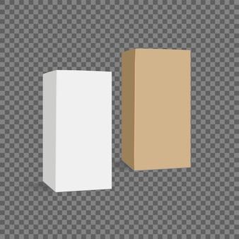 Realistischer papier- oder plastikverpackungskasten auf transparentem hintergrund.