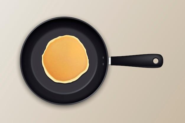 Realistischer pfannkuchen in der bratpfannensymbol-nahaufnahme, draufsicht.