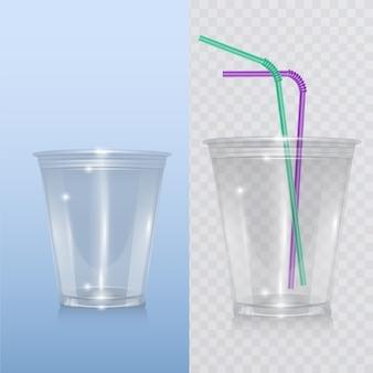 Realistischer plastikbecher für milchshake, limonade und smoothie.