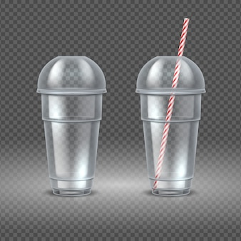 Realistischer plastikbecher. transparenter kaffeebehälter mit strohhalm, wassersaft und cocktailbecher. entsorgungsbehälter eingestellt