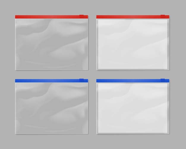Realistischer plastikreißverschlusstaschen-modellsatz