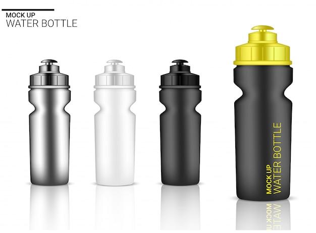 Realistischer plastikschüttel-apparat der flaschen-3d im vektor für wasser und getränk. fahrrad und sport konzept design.