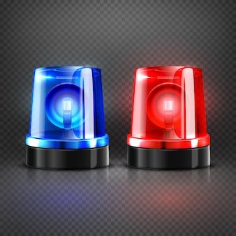 Realistischer polizei-rettungswagen blinkt rote und blaue sirenen