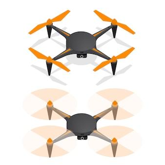 Realistischer quadrocopter mit luftdrohne am himmel und ausgeschaltet für überwachung und isometrische videoansicht.
