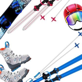 Realistischer rahmen der wintersportausrüstung mit snowboard-skihelmschuhen auf weißem hintergrund