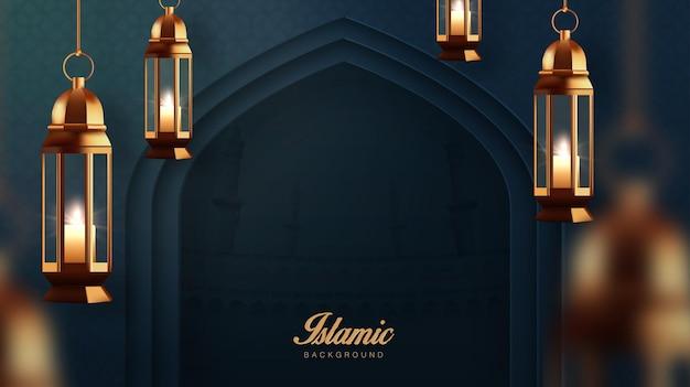 Realistischer ramadan kareem feiertagsfahnenentwurf mit der goldenen lampe 3d, die neben moscheetür hängt
