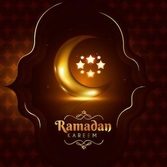 Realistischer ramadanhintergrund mit mond