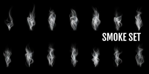 Realistischer rauch transparenter symbolsatz weißes abstraktes objekt zigarettenrauchdampf vom kaffee par beispielillustration