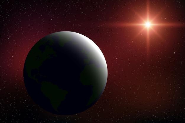 Realistischer raumhintergrund mit planet erde im universum