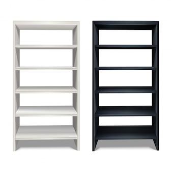 Realistischer regalständer in schwarz-weißer farbe. auf weißem hintergrund isoliert.