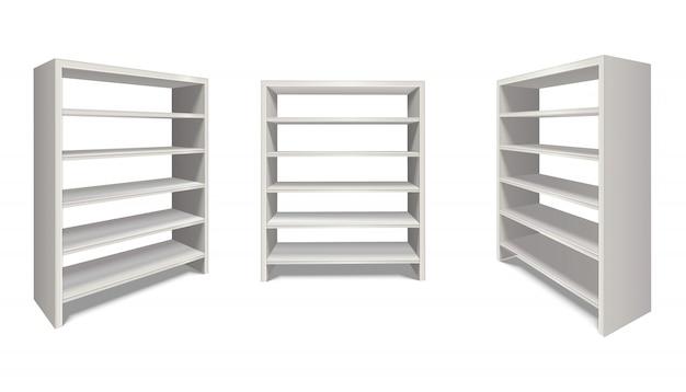 Realistischer regalständer in weißer farbe von seiten- und vorderansicht. auf weißem hintergrund isoliert.