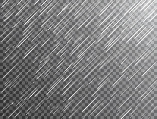 Realistischer regen auf transparentem hintergrund
