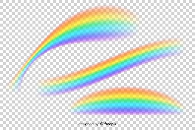 Realistischer regenbogen auf transparentem hintergrund