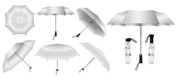 Realistischer regenschirm in verschiedenen typen und farben isoliert