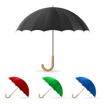 Realistischer regenschirm in vier farben