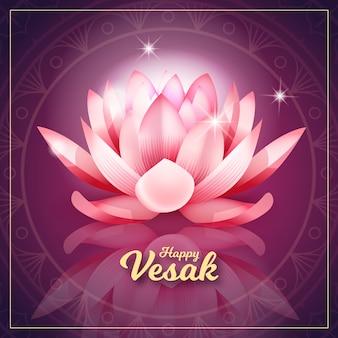 Realistischer rosa lotus für vesak-ereignis