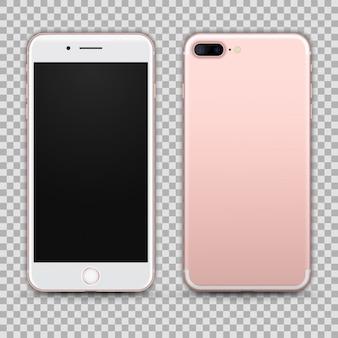Realistischer rosegold smartphone lokalisiert auf transparentem hintergrund. vorder- und rückansicht