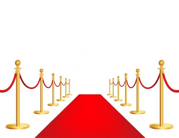 Realistischer roter ereignisteppich, goldene seilsperre. feierliche eröffnung, luxusfeier.