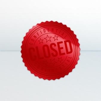 Realistischer roter geschlossener siegelstempel