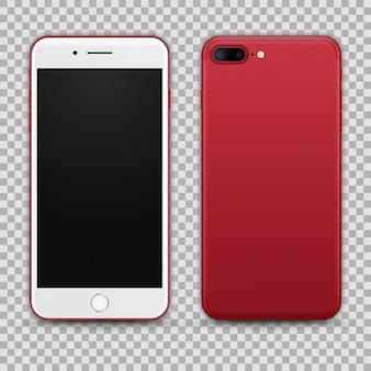 Realistischer roter smartphone lokalisiert auf transparentem hintergrund. vorder- und rückansicht