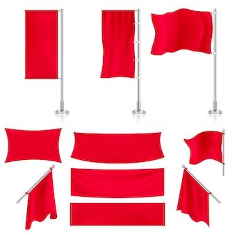 Realistischer roter werbungsgewebetextilfahnen- und flaggenvektorsatz. horizontale wimpel dehnen il