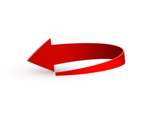 Realistischer roter wirbelnder pfeil. illustration auf einem weiß