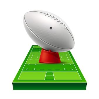 Realistischer rugby-spielplatz des vektors mit lederball auf grünem rasenfeld.