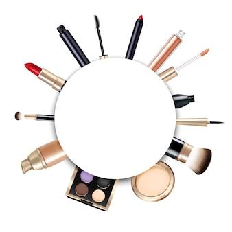 Realistischer runder make-up-rahmen mit lippenstift-pulver-grundierungspinsel, glänzenden lidschatten und mascara