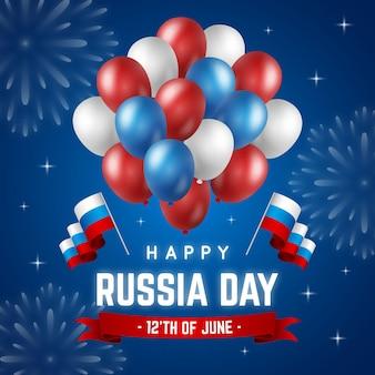 Realistischer russland-tageshintergrund mit luftballons