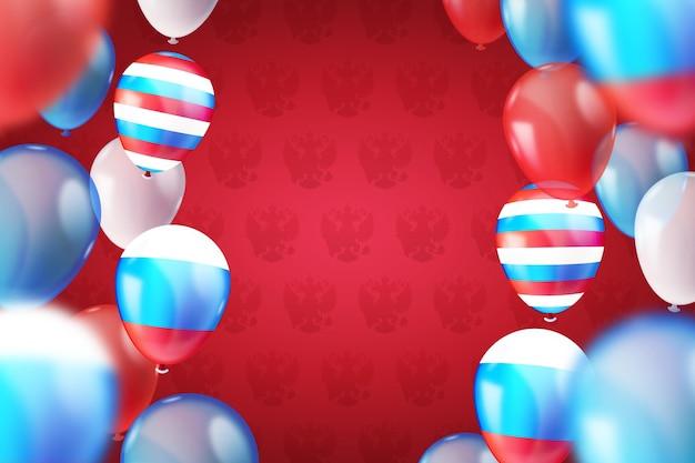 Realistischer russland-tageshintergrund mit luftballons Premium Vektoren