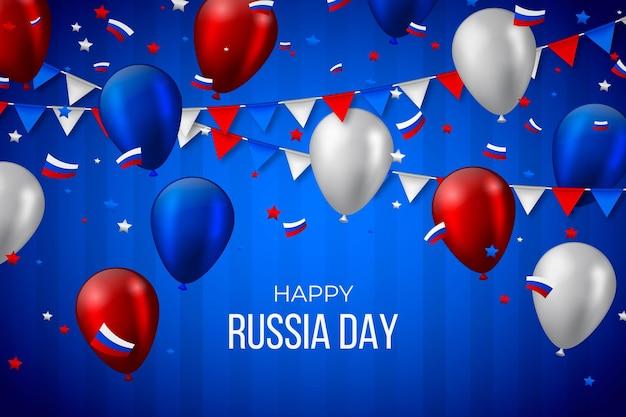 Realistischer russland-tageshintergrund mit luftballons Kostenlosen Vektoren