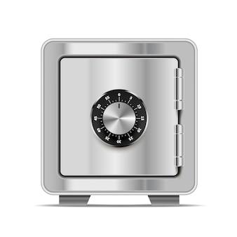Realistischer safe aus glänzendem metallstahl mit schloss auf weiß