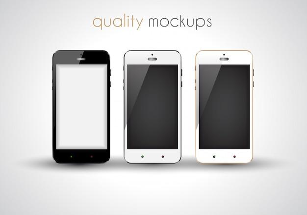 Realistischer sammlungssatz smartphones elegante modelle der modernen art