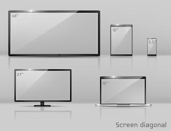 Realistischer Satz 3d verschiedene Bildschirme - Notizbuch, Smartphone oder Tablette.