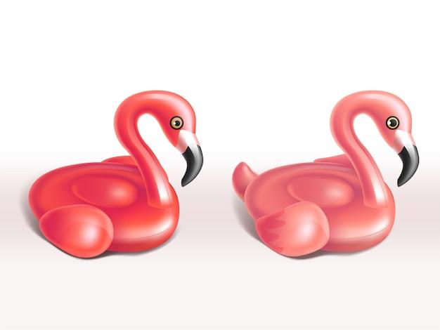 Realistischer satz aufblasbarer flamingos, rosa gummiringe für kinder, niedliche lustige spielwaren