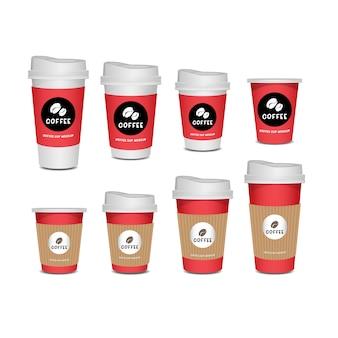 Realistischer satz der kaffeetasse lokalisiert auf weißem hintergrund.