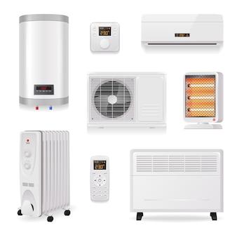 Realistischer satz der klimatisierungsausrüstung mit klimaanlagensymbolen lokalisierte illustration