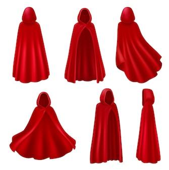 Realistischer satz der roten mantelhaube isolierte lange roben