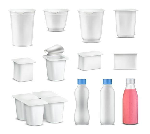 Realistischer satz des joghurtpakets mit leerem paket für flaschen