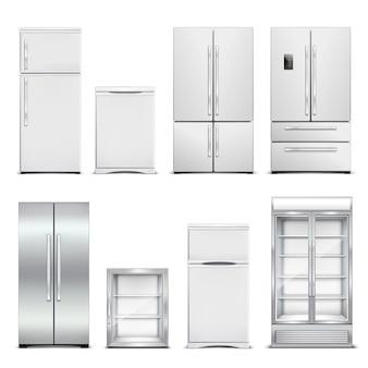 Realistischer satz des kühlschrankkühlschranks lokalisierte kabinette mit verschiedenen modellen und türformen auf freiem raum