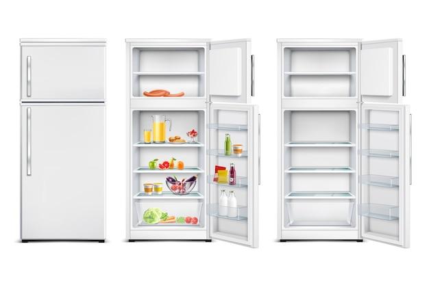 Realistischer satz des kühlschrankkühlschranks lokalisierte kühlräume mit offenen und geschlossenen türen der produkte