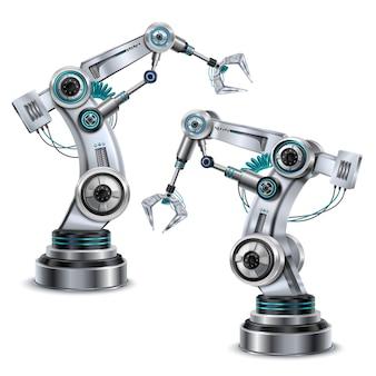 Realistischer satz des roboterarms mit isolierten modernen technologiesymbolen