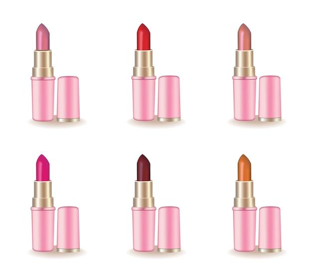 Realistischer satz des roten lippenstift-kosmetik-produktes. 3d-darstellung