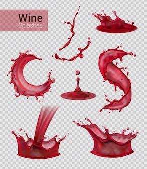 Realistischer satz des weinspritzens lokalisierte sprays des flüssigen rotweins mit tropfen auf transparenter illustration