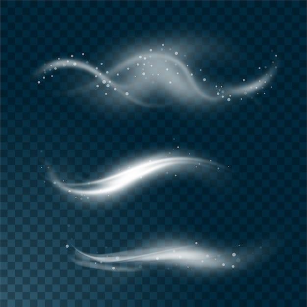 Realistischer satz hoher detaillierter wind- oder staubwolke lokalisiert auf transparentem hintergrund. wirkung von weißem rauch, nebel, spray. illustration