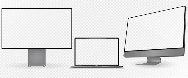 Realistischer satz monitor, dunkelgraue farbe des laptops.