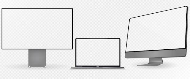 Realistischer satz monitor, dunkelgraue farbe des laptops. Premium Vektoren